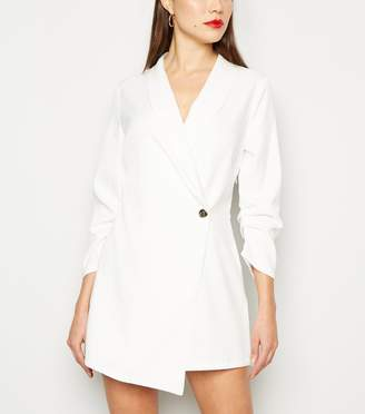 New Look Ruched Sleeve Wrap Tuxedo Playsuit