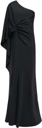 Alberta Ferretti One-shoulder Draped Satin-crepe Gown