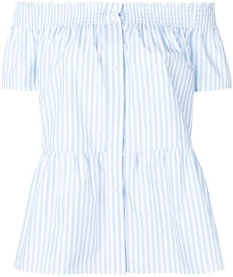 RED Valentino striped off-shoulder blouse