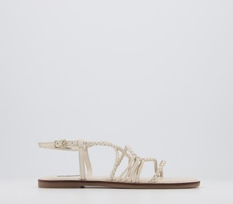 Office Scala Plaited Buckle Flat Sandals Off White Leather