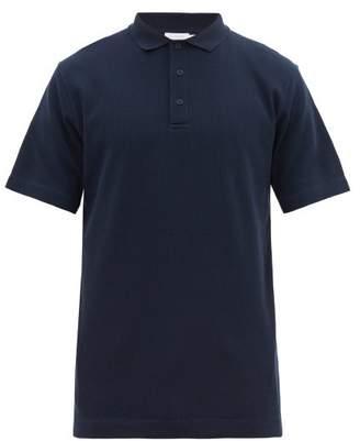 Sunspel Waffle-knit Cotton Polo Shirt - Mens - Navy
