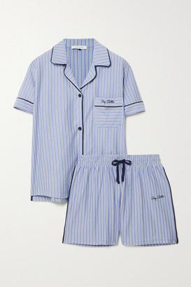 Ninety Percent + Net Sustain Embroidered Striped Organic Cotton-jersey Pajama Set - Blue