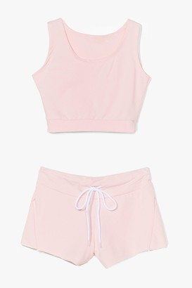 Nasty Gal Womens You and Me Crop Top and Shorts Set - Pink