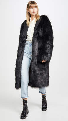 ANAÏS JOURDEN Black Faux Fur Maxi Blazer with Triple Pockets
