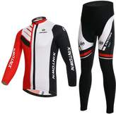 BESYL Unisex Red White Black High-Performance Mesh Cycling Cloting Suit, Winter Long Sleeve Cycling Jersey and Padded Pants Kit for Bicycle Bike Riding Biker