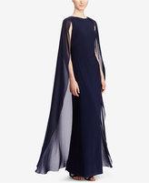 Lauren Ralph Lauren Georgette-Cape Jersey Gown