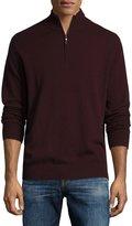 Neiman Marcus Cashmere Zip-Neck Sweater, Wine
