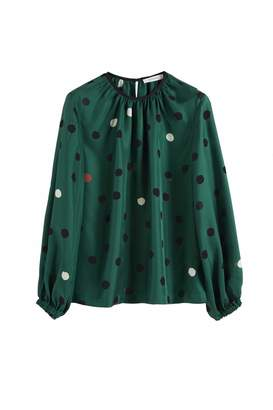 Parker Chinti & Green Painted Spot Silk Blouse