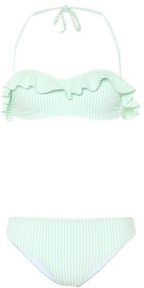 Fendi Stripped ruffled bikini set