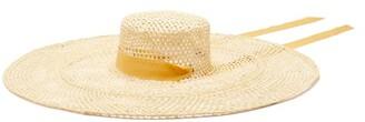 Sensi Calado Ribbon-trimmed Straw Boater Hat - Beige