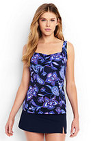 Lands' End Women's Underwire Sweetheart Tankini Top-Scuba Blue Bandana Paisley