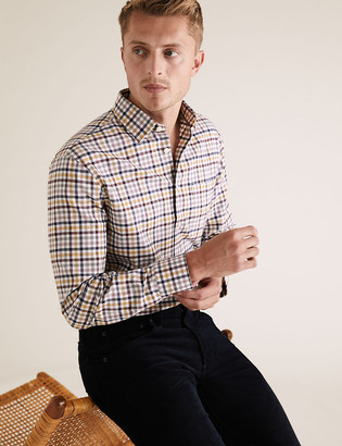 Marks and Spencer Regular Fit Brushed Cotton Checked Shirt