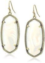 Kendra Scott Elle Antique Brass White Banded Agate Drop Earrings