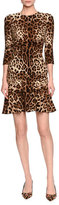 Dolce & Gabbana Leopard-Print 3/4-Sleeve Flounce Dress, Brown/Black Leopard