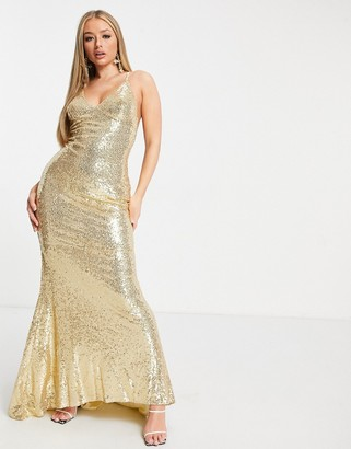Club L London Club L low back sequin cami maxi dress with fishtail in gold
