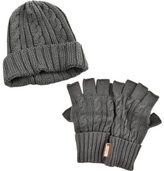 Muk Luks Men's Cable Knit Cuff Cap with Fingerless Gloves Set