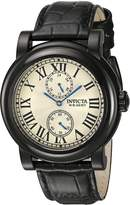 Invicta Men's I-Force Black Leather Band Steel Case Quartz Silver-Tone Dial Analog Watch 22257
