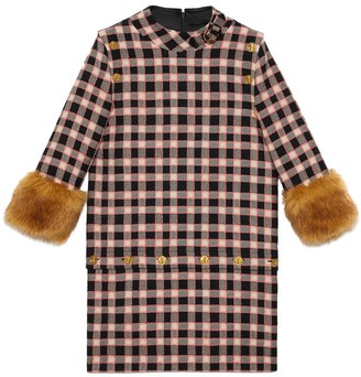 Gucci Check Print Faux Fur Trim Dress