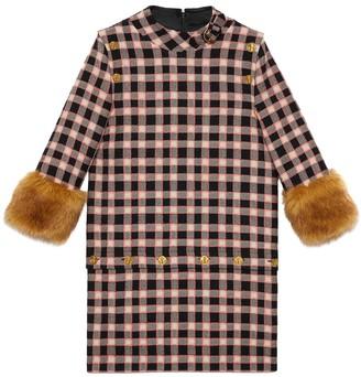 Gucci check print faux fur trim dress