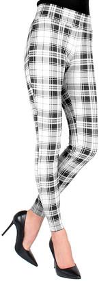 Me Moi MeMoi Women's Leggings Black/White - Black & White Plaid Shaping Leggings - Women