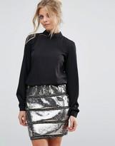 Vila High Neck Dress With All Over Sequin Skirt