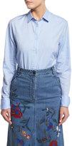 Tibi Long-Sleeve Oxford Shirting Bodysuit, Light Blue