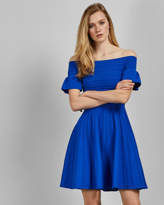 Ted Baker Bardot Frill Knitted Skater Dress