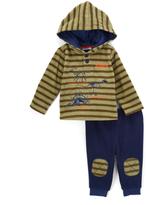 Buster Brown Green & Blue Stripe Dino Hoodie & Knee-Patch Pants