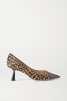 Jimmy Choo Rene 65 Leopard-print Goat Hair And Patent-leather Pumps - Animal print