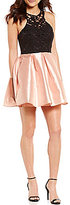 Teeze Me Lace-Bodice Color Block Fit-and-Flare Party Dress