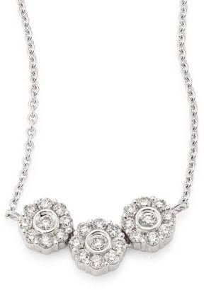 Hueb Three Flower Diamond & 18K White Gold Pendant Necklace