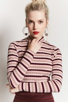 Forever 21 Striped Mock Neck Top