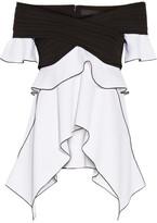 Proenza Schouler Off-the-shoulder Plissé-paneled Stretch-crepe Top - Black