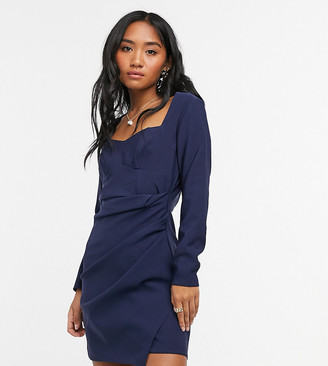 ASOS DESIGN Petite sweetheart neck mini dress with ruched wrap skirt in navy