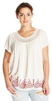 Eyeshadow Women's Woven Short Sleeve Top with Embroidered Hem and Neck Trim