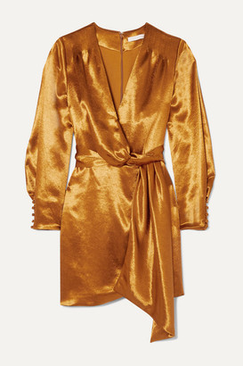Jonathan Simkhai Draped Wrap-effect Satin Mini Dress - Bronze