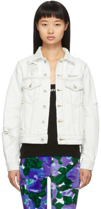 Off-White Off White White Distressed Denim Jacket