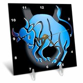 3drose Taurus Zodiac Sign Desk Clock, 6 by 6-Inch