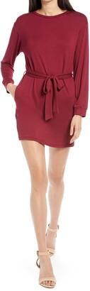 Fraiche by J Tie Waist Long Sleeve Dress