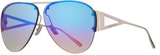 Bottega Veneta Rimless Metal Mirrored Aviator Sunglasses
