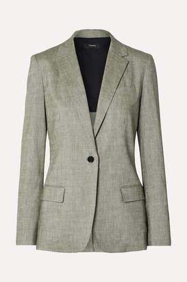 Theory Organic Linen-blend Blazer - Gray green