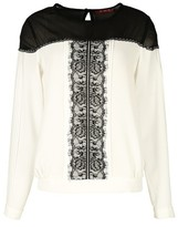 Rene Derhy Two-Tone Blouse with Lace Detail