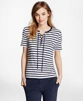 Brooks Brothers Lace-Up Striped T-Shirt
