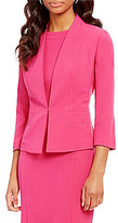 Kasper Petite Stretch Crepe Hook-Front Jacket
