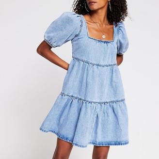 River Island Denim short sleeve smock tiered dress