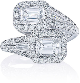 Jb Star Platinum Emerald-Cut Diamond Bypass Ring