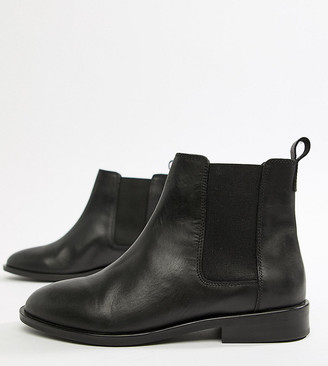 ASOS DESIGN Wide Fit Aura leather chelsea ankle boots