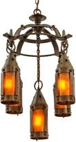 Rejuvenation Wrought Iron Arts & Crafts Chandelier w/ Mica Lanterns