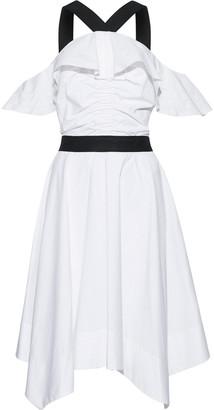 Derek Lam 10 Crosby Cold-shoulder Ruffled Cotton-poplin Dress