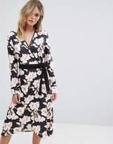 Liquorish Floral Wrap Midi Dress